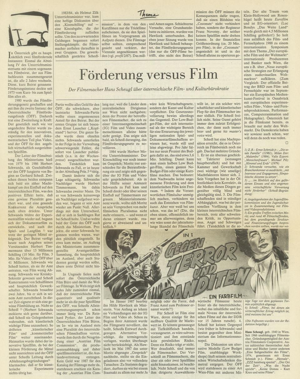 HansScheugl-1988-Filmförderung versus Film